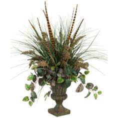 Mixed Grasses with Feathers and Ivy in Urn