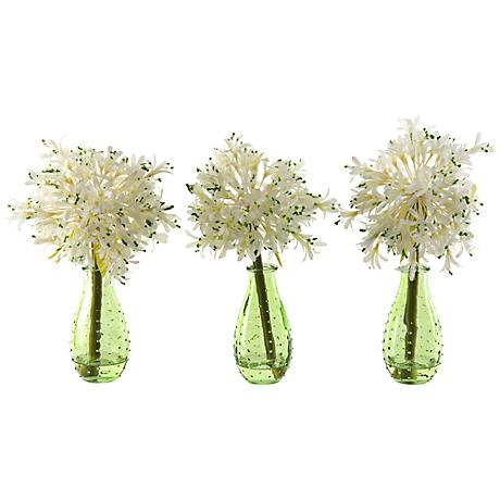"White Alliums 11"" High Flowers in Green Glass Vases Set of 3"