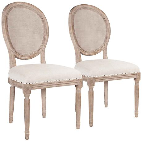 Set of 2 Oliver Stone Wash Dining Chairs