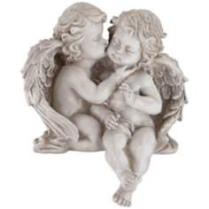 Embracing Angel Cherub Shelf Sculpture