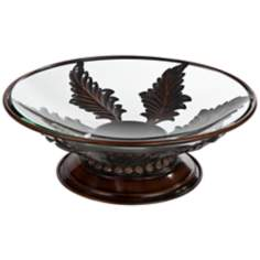 Bronze Leaves Glass Decoative Bowl