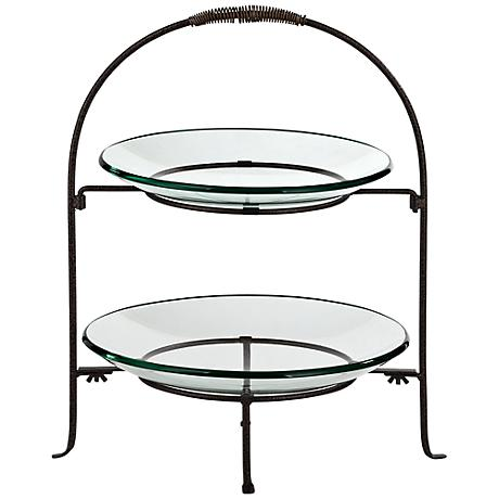 Two Tier Serving Stand in Bronze with Round Glass Plates