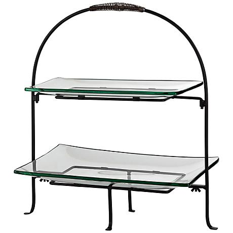 Two Tier Serving Stand in Bronze with Glass Trays