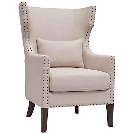 Berkley Oatmeal Linen Wingback Club Chair