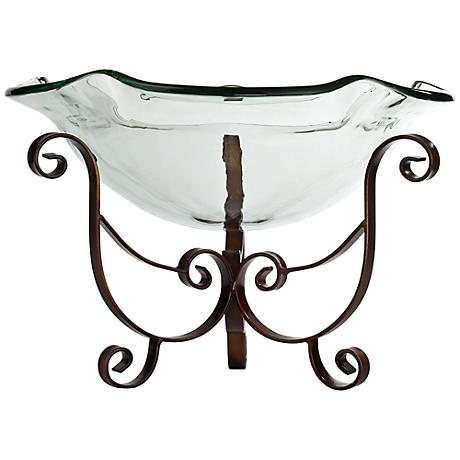 Ruffle Glass Bowl with Antique Bronze Finish Stand