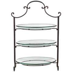 Three Tier Serving Stand with Scroll Top and Glass Plates