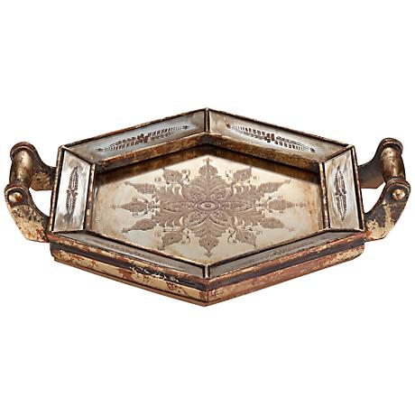 Arles Antique Gold Mirrored Decorative Tray