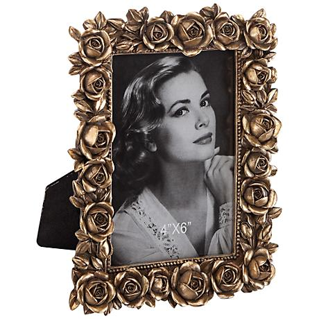Roses Picture Frame in Antique Gold