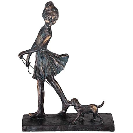 "Little Girl Walking Dog 10 1/2"" High Sculpture"