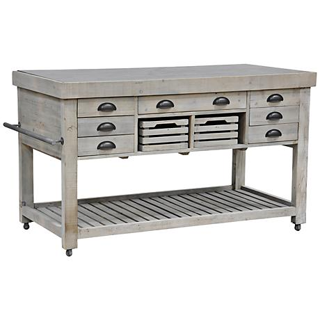 Avery Natural Gray Kitchen Island