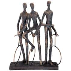 Unicycle Riders Aged Gold Sculpture