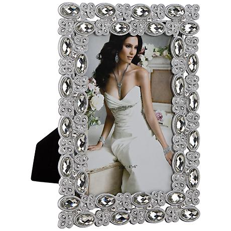 Olivia Light Silver Jeweled 4x6 Picture Frame