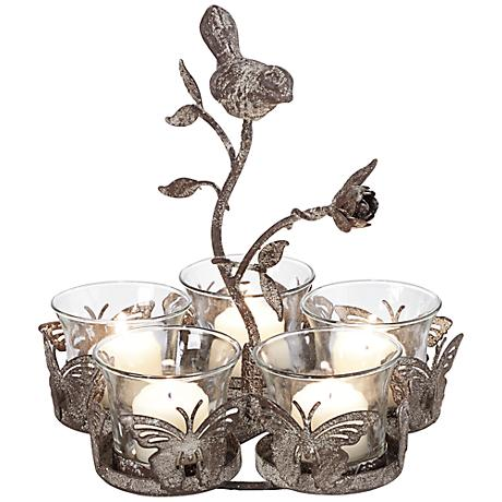 Jardin Fleuri Butterfly Gray Metal Votive Candle Holder