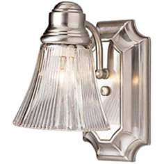 "Brushed Nickel Finish 7"" High 5"" Wide Wall Sconce"