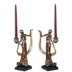 Set of Two Art Deco Lady Candleholders
