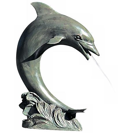 "Large 28"" High Single Dolphin Pond Fountain"