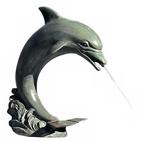"Medium 20"" High Single Dolphin Pond Fountain"