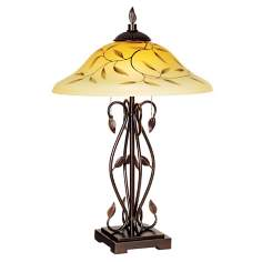 Elegant Leaf Glass Shade Table Lamp
