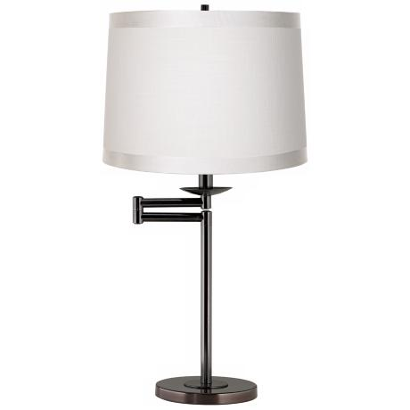 Off White Drum Shade Bronze Swing Arm Desk Lamp Base