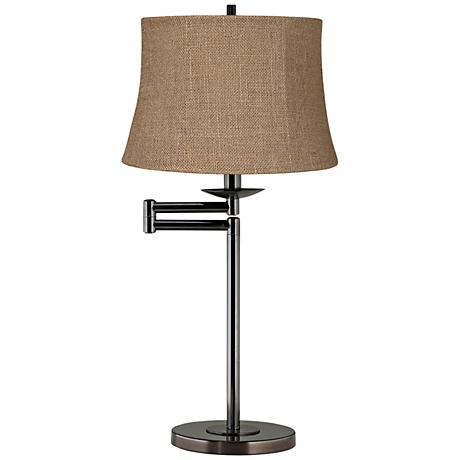 Natural Burlap Shade Bronze Swing Arm Desk Lamp