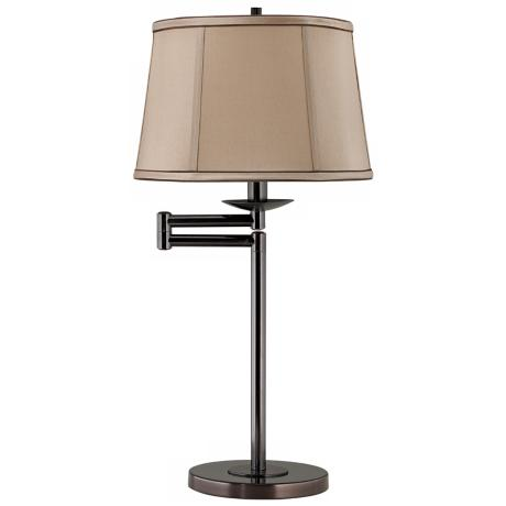 Tan and Brown Shade Bronze Swing Arm Desk Lamp Base