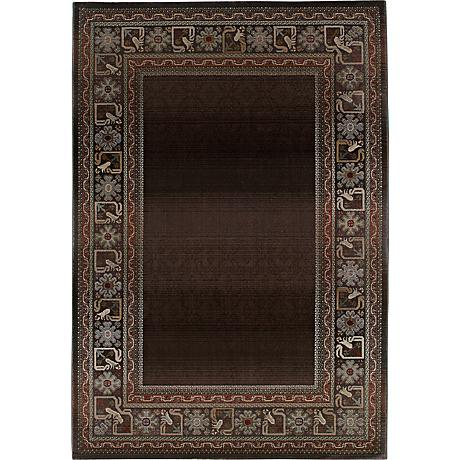 Fall Border Brown Area Rug