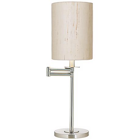 Ivory Linen Brushed Nickel Finish Swing Arm Desk Lamp