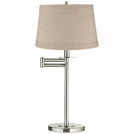 Natural Linen Drum Brushed Nickel Swing Arm Desk Lamp