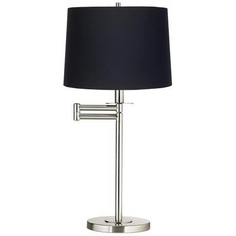 Black Fabric Brushed Nickel Swing Arm Desk Lamp