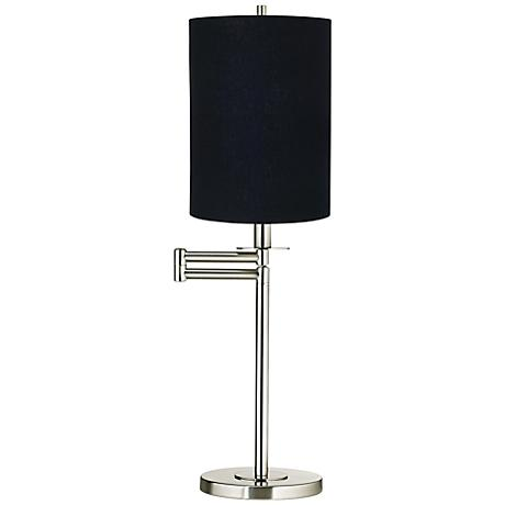 Black Cylinder Shade Brushed Nickel Swing Arm Desk Lamp
