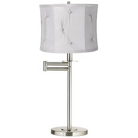 Dove Gray Brushed Nickel Swing Arm Desk Lamp