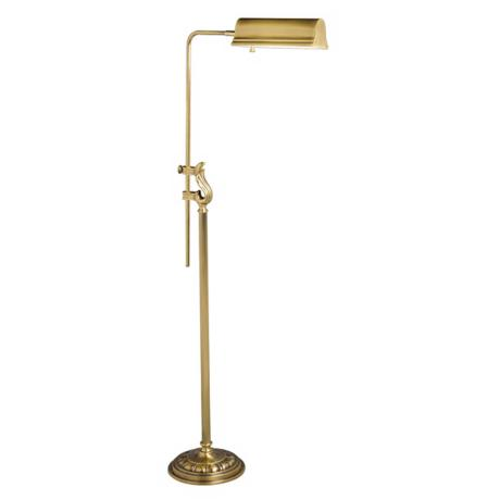 Adjustable Antique Brass Scroll Accent Pharmacy Floor Lamp