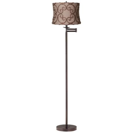 Leiden Taupe Burlap Bronze Swing Arm Floor Lamp