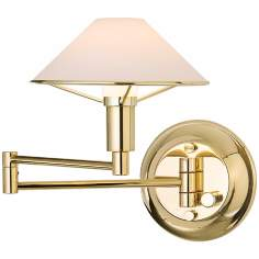 Polished Brass Finish True White Glass Swing Arm Wall Light