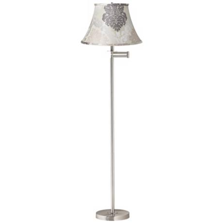 Cream and Gray Floral Brushed Nickel Swing Arm Floor Lamp