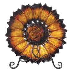 Flower Amber Glass Plate with Stand