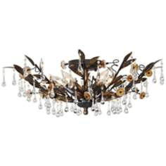 "Black Gold and Crystal 18"" Wide Ceiling Light"
