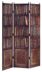 Decorative Room Dividers - Harris Marcus Home Three Panel Leather Library Screen