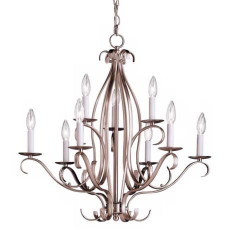 Nine Light Brushed Nickel Chandelier