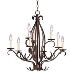 Bent Scroll Nine Light Bronze Chandelier
