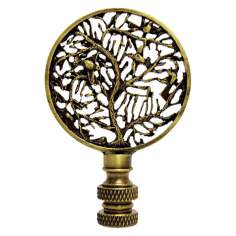 Birds in Tree Antique Metal Finial