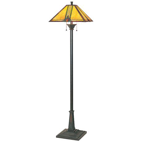 Lite Source Bronze Amber Glass Mission Floor Lamp