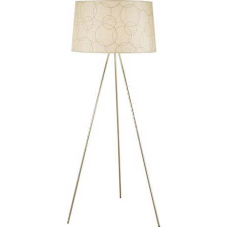 Lights Up! Brushed Nickel Circles Tripod Floor Lamp