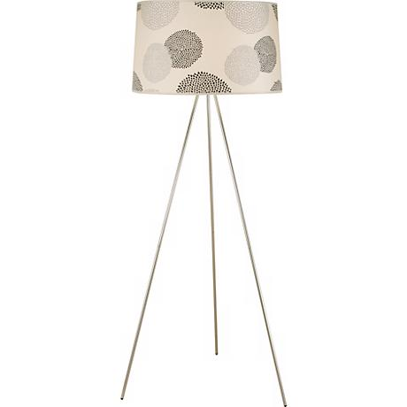 Lights Up! Brushed Nickel Black Mumm Tripod Floor Lamp