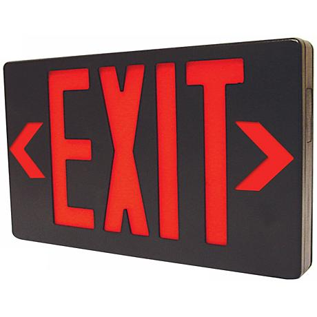 Black with Red AC Only LED Exit Sign
