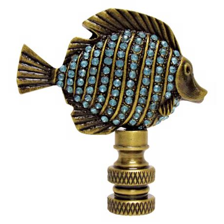 Tropical Fish Blue Glass Finial