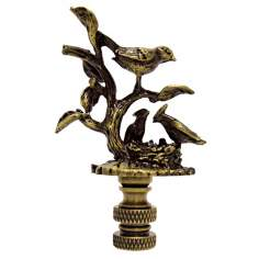 Birds on Nest Antique Metal Finial