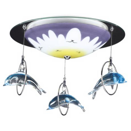 "Dolphin Splash 16"" Wide Ceiling Light Fixture"