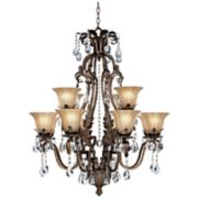 "Iron Leaf 34"" Wide 12 Light Bronze and Crystal Chandelier"