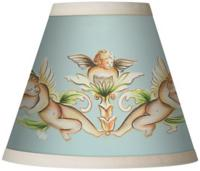 Cherub Blue Giclee Set of Four Chandelier Shades at LAMPS PLUS